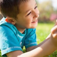 Little boy using digital tablet